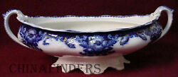 Johnson Brothers China Oregon Flow Blue Gold Accent Oval Vegetable Bowl Base