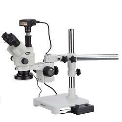 3.5x-180x Simul-focal Stereo Lockable Zoom Microscope + 144-led Ring Light + 18m