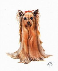 Original Oil Art YORKSHIRE TERRIER YORKIE Portrait Painting DOG PUPPY Signed