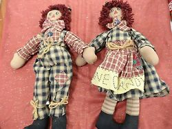 2 Vintage Hand Crafted Raggedy Ann And Andy Dolls 18 Anne Loves Andy Cloth Dolls