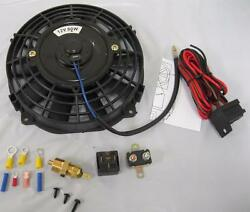 7 Inch Universal Electric Radiator Cooling Fan + Thermostat Relay Install Kit