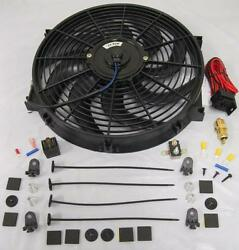 14 Universal Curved S-blade Electric Cooling Fan + Thermostat Relay And Mount Kit