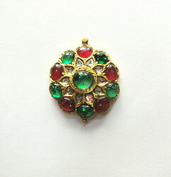 Vintage Antique Solid 22 K Gold Ruby Emerald And Diamond Pendant Amulet Necklace
