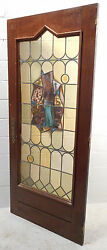 Tall Antique Vintage Stained Glass Art Door 1453nj