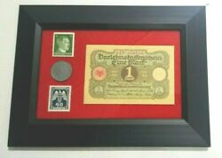 German Ww2 Rare 10 Rp Coin Wth Stamps 1 Mark Bill In Disp Frame