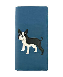 LAVISHY Checkbook Wallet FRENCH BULLDOG Vegan Leather PUPPY DOG Frenchie BLUE