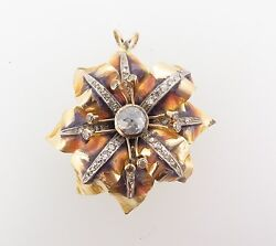 .antique 18ct Gold Enamel And Old Cut 1.12ct Diamond Flower Pendant Val 10770
