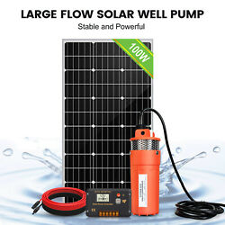 Solar Water Pump Kit 12v Dc Submersible Well Water Pump And100w Solar Panel Farm