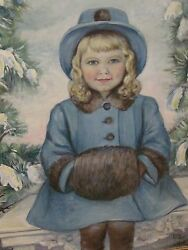 Evelyn Rockwell Oil Painting Girl With Muffler