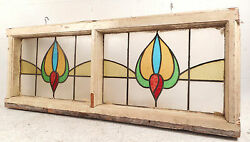 Vintage Stained Glass Window Panel 2785nj
