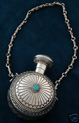 Navajo Handmade By Sunshine Reeves Sterling Silver Canteen With 8 Turquoise