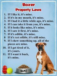 BOXER Property Laws Magnet Personalized with Your Dog's Name