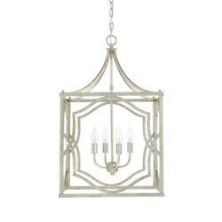 Capital Lighting Blakely 4 Light Foyer Fixture Antique Silver - 9482as
