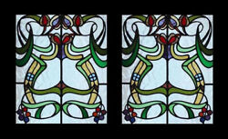 Stunning Antique English Art Nouveau Floral Pair Stained Glass Windows