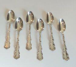 Set/6 Whiting Mfg. Co. Louis Xv Sterling Silver 5 3/4 Teaspoons 120 Grams