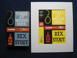 Original Dust Jacket Painting For Rex Stout Novel Three At Wolfeand039s Door Wi Book