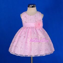 Satin Embroidery Dress Wedding Flower Girl Pageant Party Occasion Size 9m-5 272