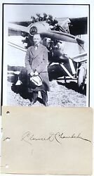 Clarence Chamberlin Aviation Pioneer Record Setting Pilot 1920and039s 30and039s Autograph.