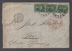 Us 19th Century Cover Sc 31 32 33 Strip Of 3 On Rare Cover1859 Encl