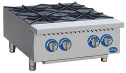 Globe Ghp24g 24 Natural Gas Hot Plate With 4 Burners And Manual Controls