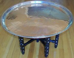 26 1/2 Handmade Antique Copper Tray And Mother Of Pearl Wood Leg Coffee Table