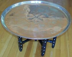 27 1/2 Handmade Antique Copper Tray And Mother Of Pearl Wood Leg Coffee Table