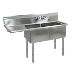 Bk Resources Two 16x20x12 Compartment Sink S/s Leg 18 Left Drainboard