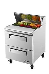 Turbo Air 7 Cu.ft Sandwich Prep Cooler With Two Drawers 8 Pans Tst-28sd-d2