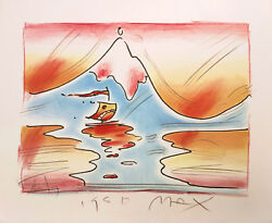 Peter Max Himalayan Valley 1980   Hand Embellished Study Edition   Pop Art