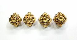Vintage Antique Handmade 20k Gold Jewelry Beads Set Of 4 Pieces India