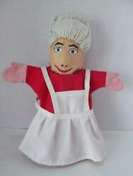 Vintage German Hand Made Mrs Claus Finger Puppet Paper Mache Christmas-1 Of Kind