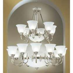 Classic Lighting Yorkshire Ii Glass And Nickel Chandelier Satin Nickel - 68209sn