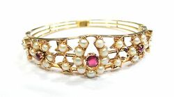 Vintage Antique Solid 18k Gold Jewelry Pearl Ruby Bracelet Bangle India