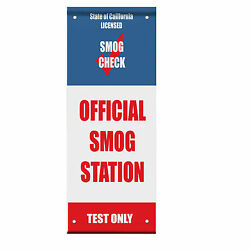 Official Smog Station Smog Check Test Double Sided Vertical Pole Banner Sign