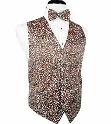 Leopard Big And Tall Tuxedo Vest And Bow Tie Set