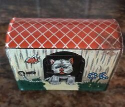 Antique tin litho child's coin dime bank Terrier cat animal graphics