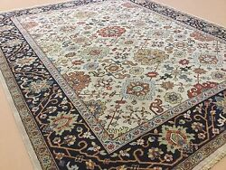 8and039.1 X 9and039.11 Beige Navy Blue Fine Geometric Oriental Rug Hand Knotted All Over