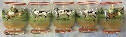 Fox Hunt Hunting Foxes And Hounds Handpainted Set 5 Shot Glasses