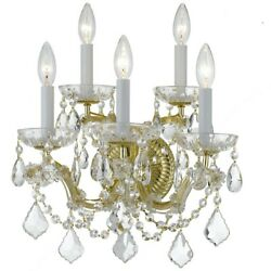 Crystorama Maria Theresa Wall Sconce, Crystal Elements Crystal 4404-gd-cl-s