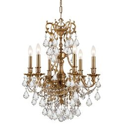 Crystorama Yorkshire Ornate Aged Brass Chandelier Crystal Crystal 5146-AG-CL-S