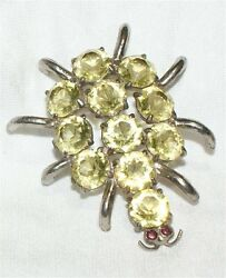 YELLOW  Spider Brooch Pin with Rhinestones 2