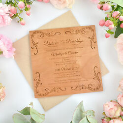 PACKAGE DEAL Custom Engraved Real Wood Square Wedding Engagement Invitations