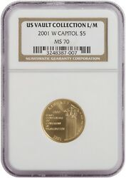 2001 W Capitol 5 Gold Coin Us Vault Collection L/m. Ngc Ms 70. 3248387-007