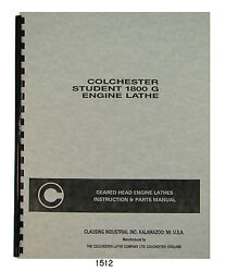 Colchester Student 1800g Lathe Sn 08818 Up Instruction And Parts Manual 1512