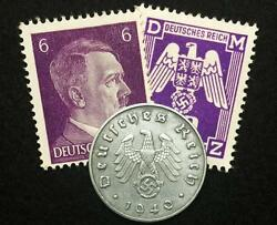 Authentic Ww2 Rare German Coin And Stamps World War 2 Authentic Artifacts