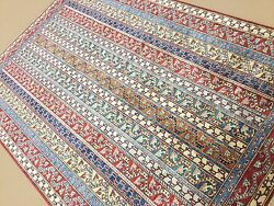 5and039.11 X 8and039.8 Red Beige Very Fine Geometric All Over Oriental Rug Hand Knotted