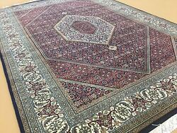 5'.1 X 7'.3 Red Beige Fine Geometric Oriental Area Rug Handknotted Wool And Silk