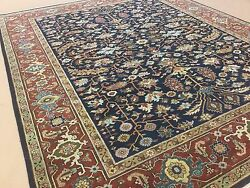 8'.0 X 9'.10 Navy Blue Rust Fine Geometric Oriental Area Rug Hand Knotted Wool