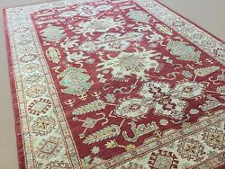 5and039.8 X 8and039.1 Red Beige Fine Geometric All Over Oriental Rug Hand Knotted Foyer
