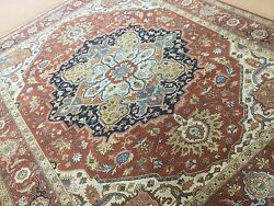 8' X 10' Rust Navy Blue Fine Geometric Oriental Area Rug Hand Knotted Wool